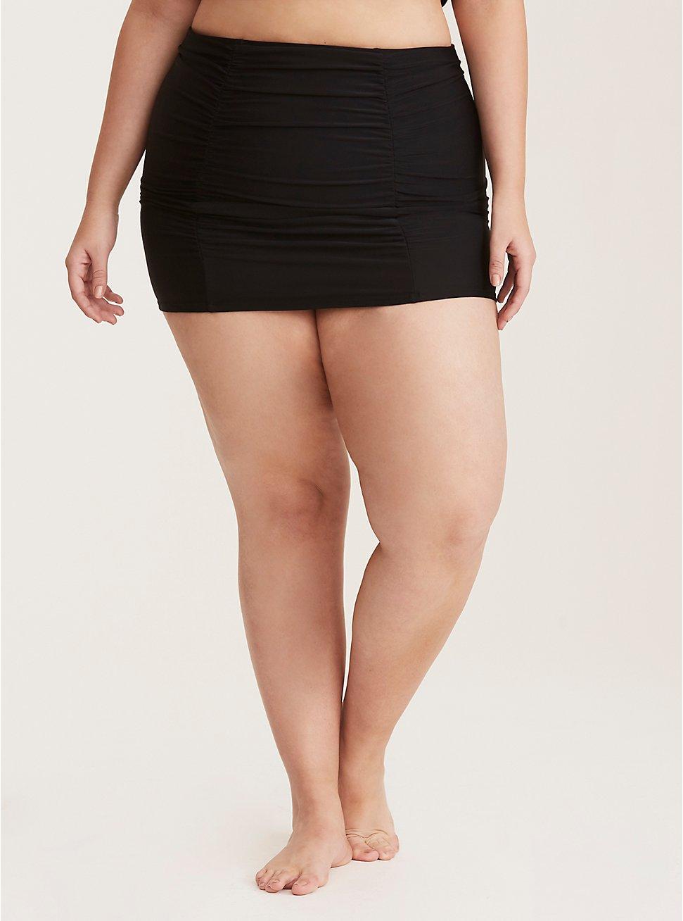 Plus Size Black Ruched High Waist Swim Skirt, BLACK, hi-res
