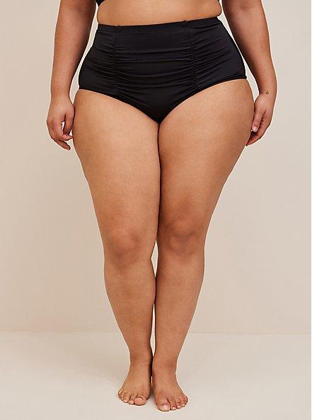 Plus Size Black High Waist Ruched Swim Bottom, BLACK, alternate