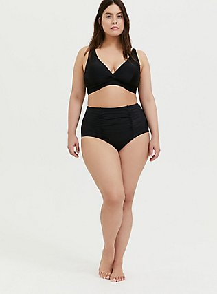 Plus Size Black High Waist Ruched Swim Bottom, BLACK, alternate
