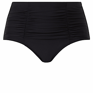 Black High Waist Ruched Swim Bottom