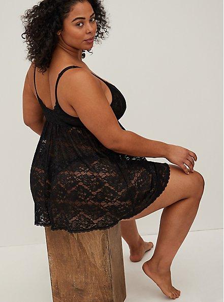 Black Lace Babydoll, BLACK, alternate