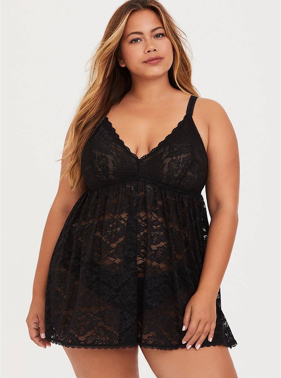 Black Lace Babydoll, , fitModel1-hires