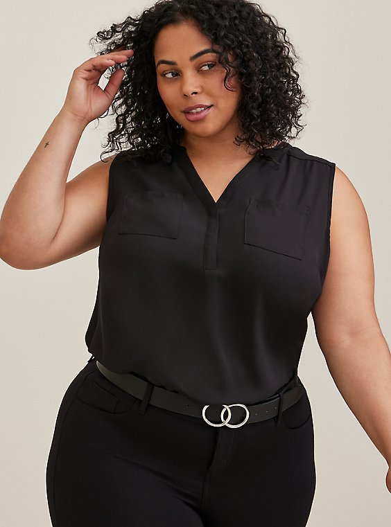 Plus Size Harper - Black Georgette Tank, , hi-res