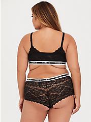 Torrid Logo Black Lace Cheeky Short, , fitModel1-alternate