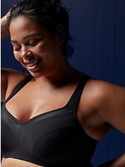 Black Lightly Lined Underwire Sports Bra, BLACK, hi-res