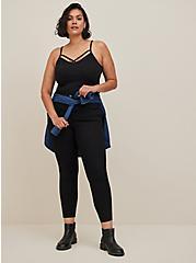 Plus Size Black Crisscross Foxy Cami, DEEP BLACK, alternate