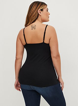 Black Crisscross Foxy Cami, DEEP BLACK, alternate