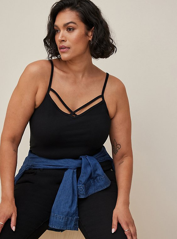 Black Strappy Foxy Cami, , hi-res