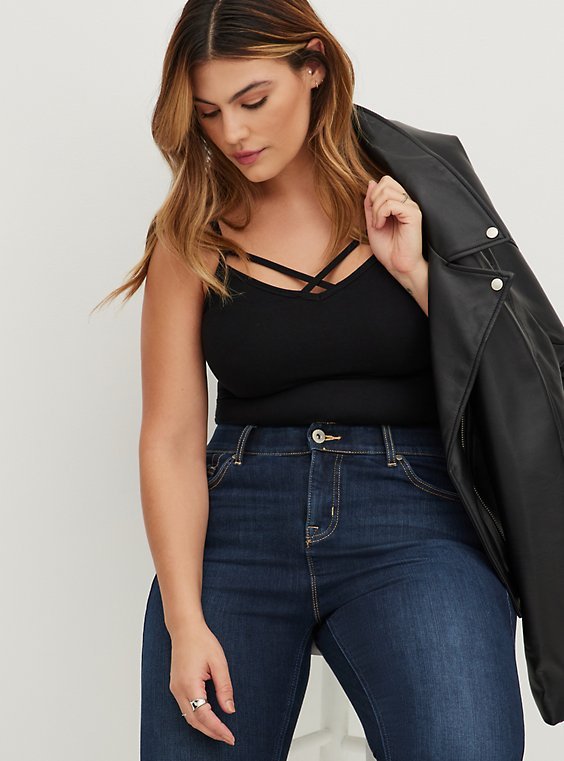 Black Crisscross Foxy Cami, DEEP BLACK, hi-res