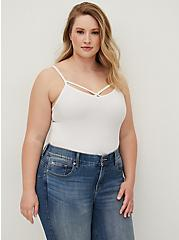 White Crisscross Foxy Cami, BRIGHT WHITE, alternate