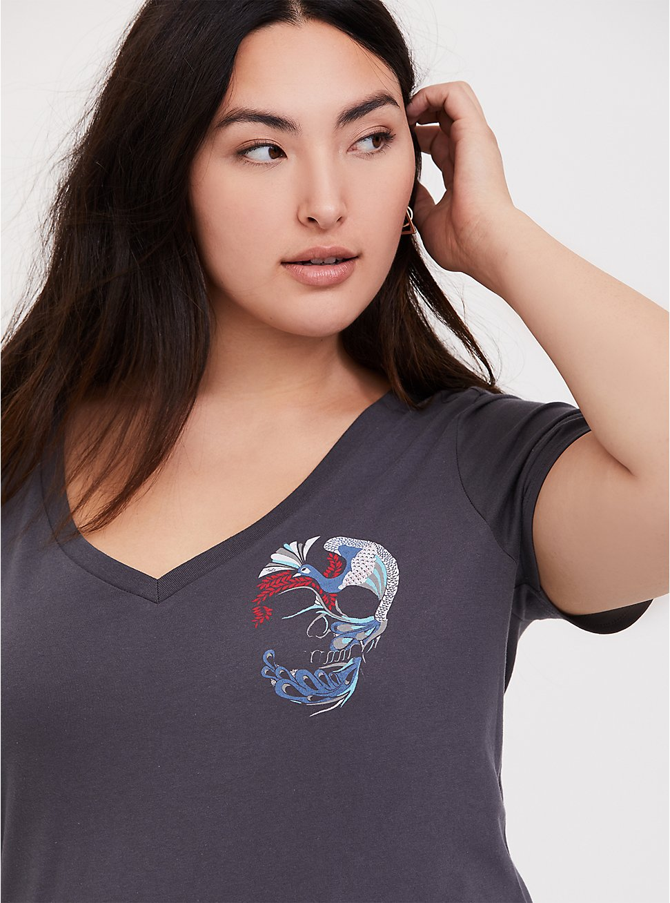 Slate Grey Peacock Skull Slim Fit V-Neck Tee, NINE IRON, hi-res