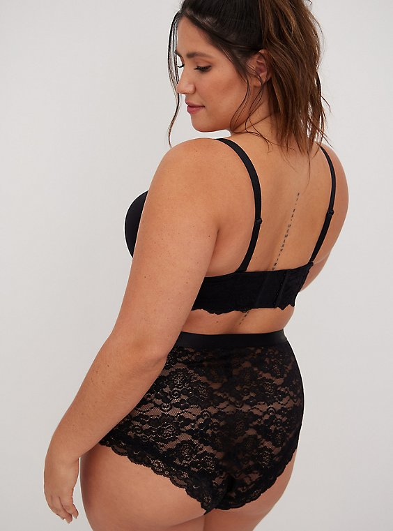 Plus Size Black Lace High Waist Cheeky Panty, RICH BLACK, hi-res