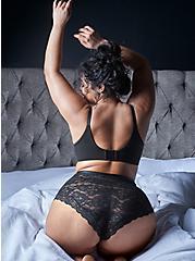 Black Lace High Waist Cheeky Panty, RICH BLACK, hi-res