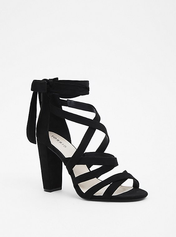 discount shop details for official Plus Size - Black Strappy Lace-Up Heel Sandal (WW) - Torrid