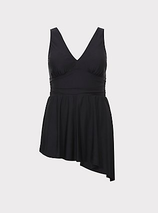 Black Wireless Asymmetrical One-Piece Swim Dress, BLACK, flat