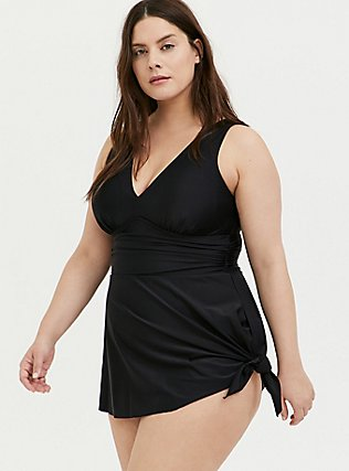 Black Wireless Asymmetrical One-Piece Swim Dress, BLACK, hi-res