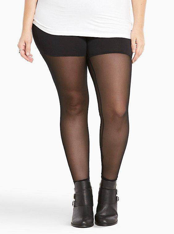 Black Mesh Inset Leggings, , hi-res