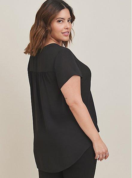Short Sleeve Georgette Pullover Blouse, DEEP BLACK, alternate