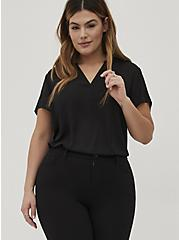 Short Sleeve Georgette Pullover Blouse, DEEP BLACK, alternate