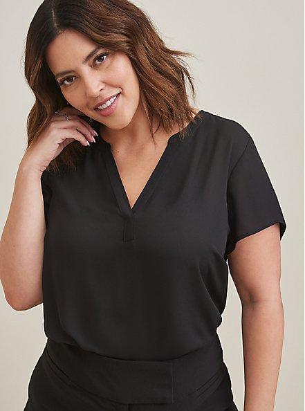 Short Sleeve Georgette Pullover Blouse, DEEP BLACK, hi-res