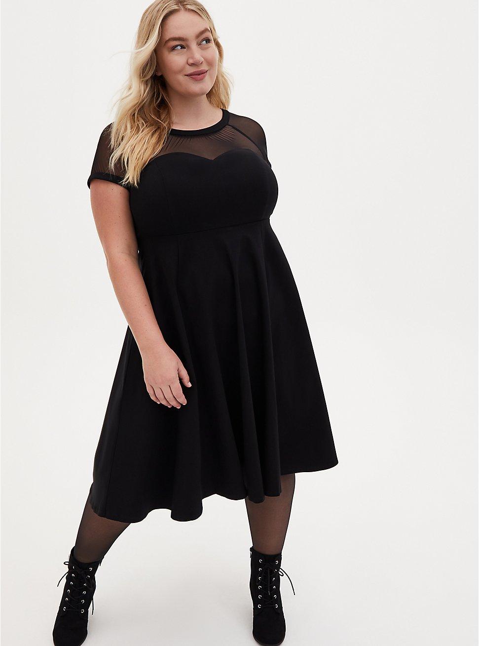 Black Mesh Inset Swing Dress, DEEP BLACK, hi-res