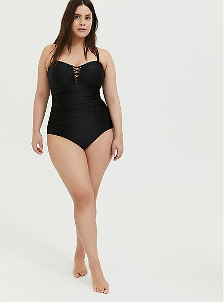 Black Lattice Ruched Wireless One-Piece Swimsuit, DEEP BLACK, alternate