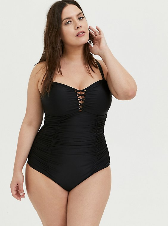 Plus Size Black Lattice Ruched Wireless One-Piece Swimsuit, , hi-res