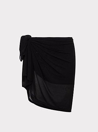 Plus Size Black Mesh Sarong Swim Cover-Up, DEEP BLACK, flat