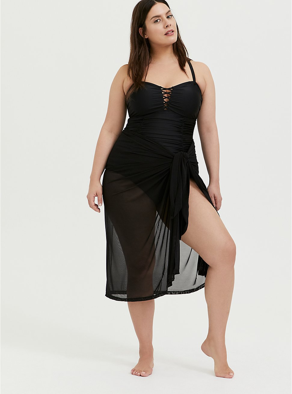 Black Mesh Sarong Swim Cover-Up, DEEP BLACK, hi-res