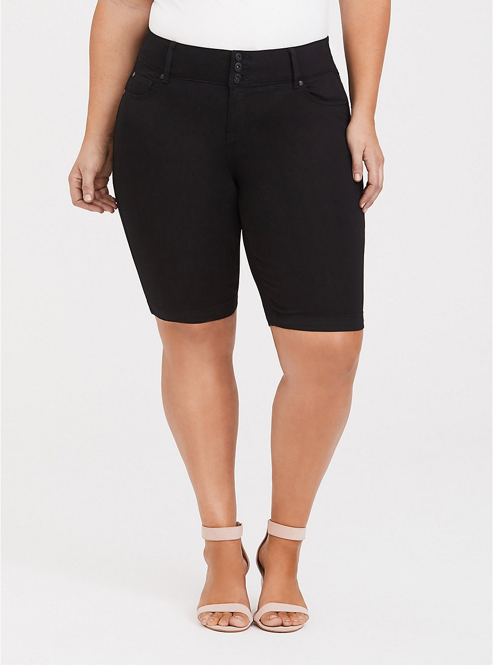 Jegging Bermuda Short - Super Stretch Black, BLACK, hi-res