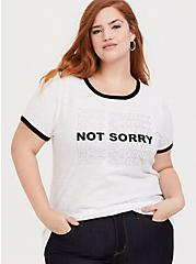 Not Sorry White Slub Classic Fit Ringer Tee, , hi-res