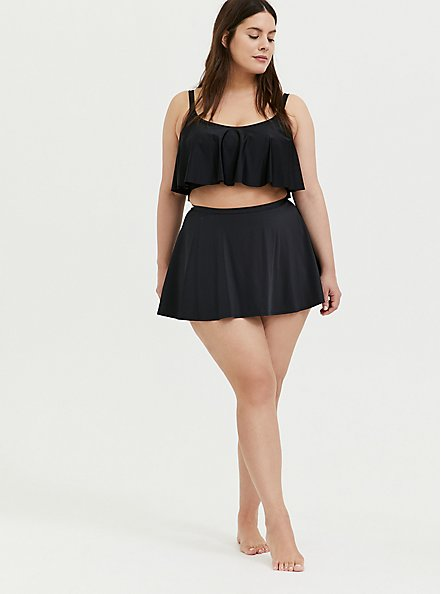 Black High Waist Skater Swim Skirt, DEEP BLACK, alternate