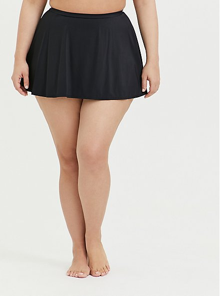 Black High Waist Skater Swim Skirt, DEEP BLACK, hi-res