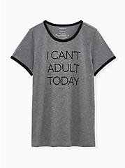 Can't Adult Classic Fit Ringer Crew Tee - Charcoal Grey, MEDIUM HEATHER GREY, alternate