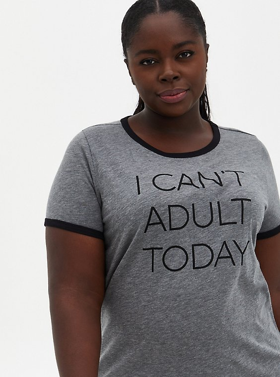 Can't Adult Classic Fit Ringer Crew Tee - Charcoal Grey, , hi-res