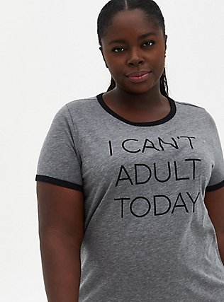 Can't Adult Classic Fit Ringer Crew Tee - Heathered Grey, MEDIUM HEATHER GREY, hi-res