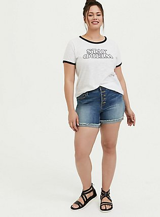 Stay Weird Classic Fit Ringer Tee - White, BRIGHT WHITE, alternate