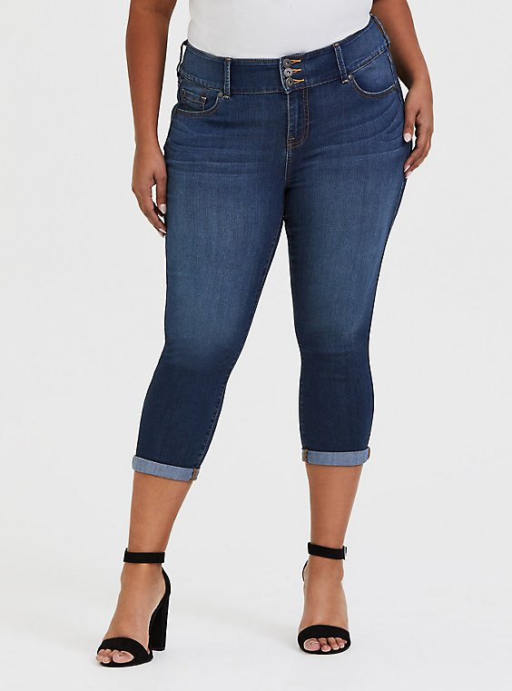 Plus Size Crop Jegging - Super Stretch Medium Wash, , hi-res