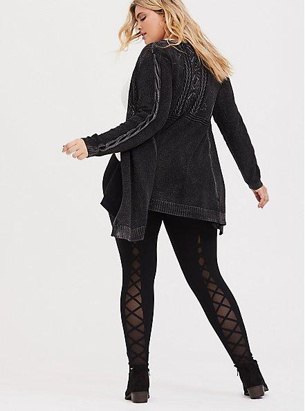 Premium Legging - Lattice Mesh Insert Black, BLACK, alternate
