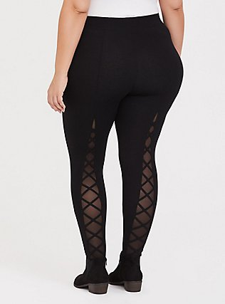 Premium Legging - Lattice Mesh Insert Black, BLACK, alternate