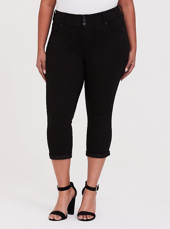 Plus Size Crop Jegging  - Super Stretch  Black, , hi-res