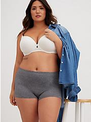 Heather Grey Seamless Boyshort Panty, HEATHER GREY, hi-res