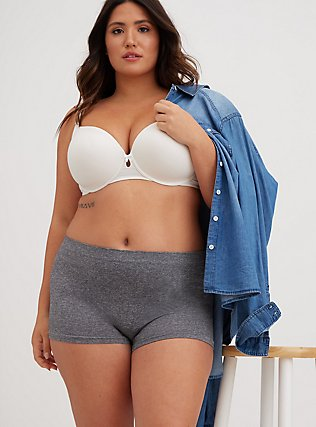 Plus Size Heather Grey Seamless Boyshort Panty, HEATHER GREY, hi-res