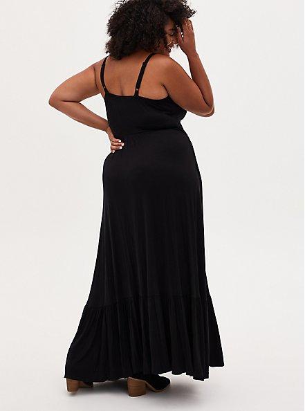 Black Tiered Jersey Maxi Dress, DEEP BLACK, alternate