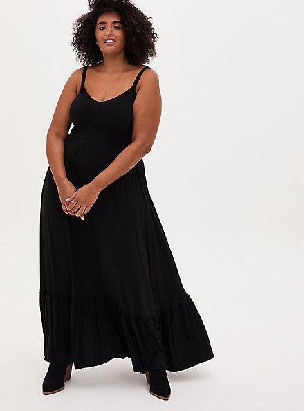 Black Tiered Jersey Maxi Dress, DEEP BLACK, hi-res