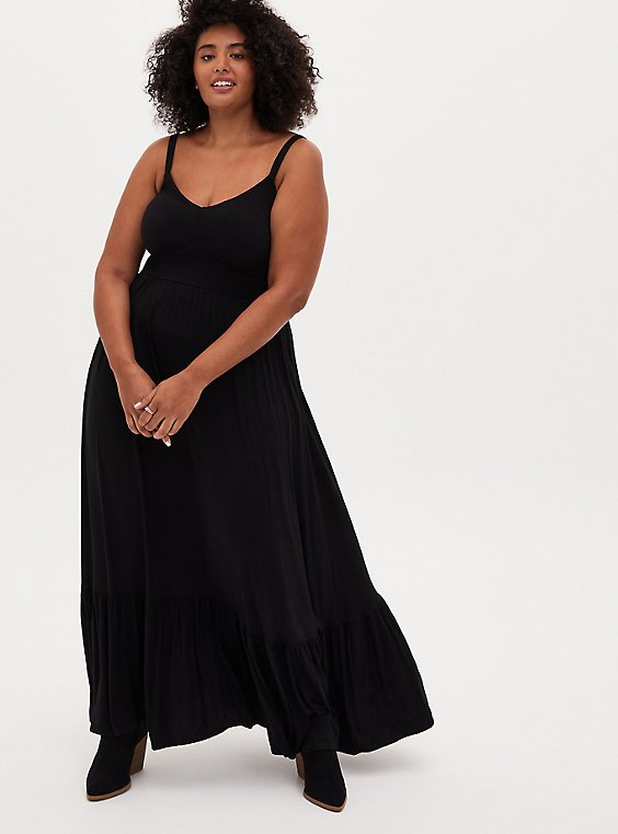 Black Tiered Jersey Maxi Dress, DEEP BLACK, hi-res