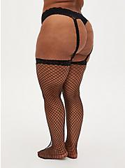 Black Fishnet & Lace Faux Garter Tights, BLACK, alternate