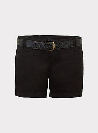 Belted Mid Short - Sateen Black, BLACK, flat