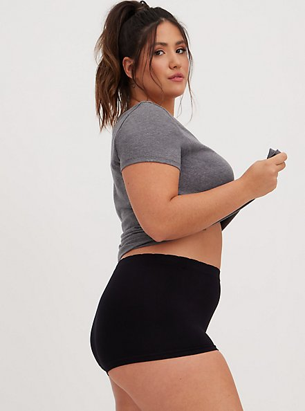 Black Seamless Boyshort Panty, BLACK, alternate