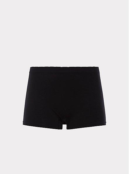 Black Seamless Boyshort Panty, BLACK, hi-res